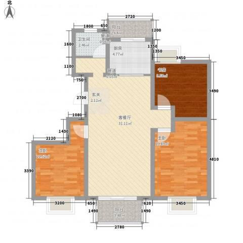 翠园世家3室1厅1卫1厨113.00㎡户型图