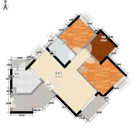 颐澳湾花园3室1厅1卫1厨107.00㎡户型图