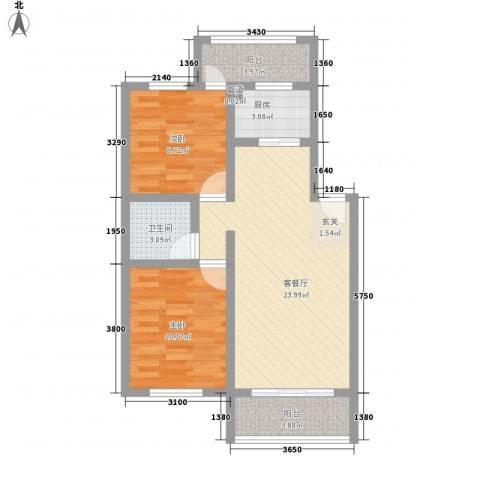 凯悦广场2室1厅1卫1厨66.76㎡户型图