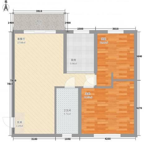 富丽小区2室1厅1卫1厨97.00㎡户型图