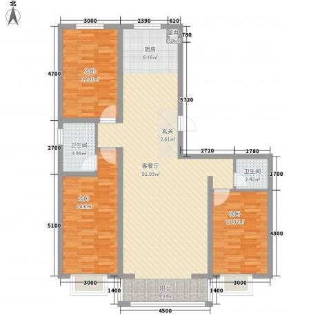 水岸国际3室1厅2卫0厨123.00㎡户型图