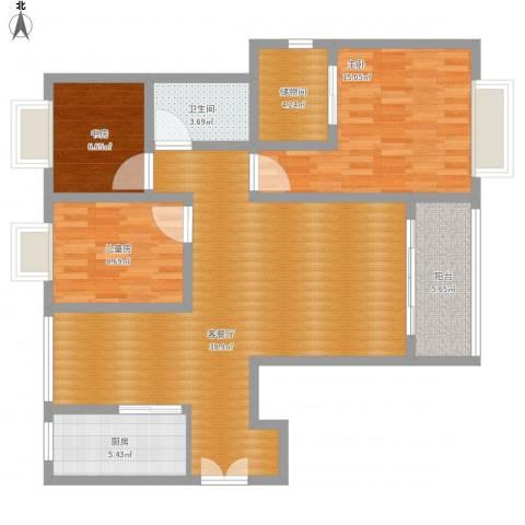 境界・水晶城3室1厅1卫1厨128.00㎡户型图
