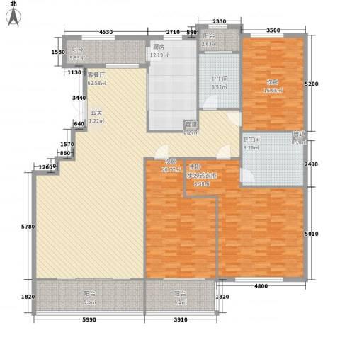 紫云花园3室1厅2卫1厨245.00㎡户型图