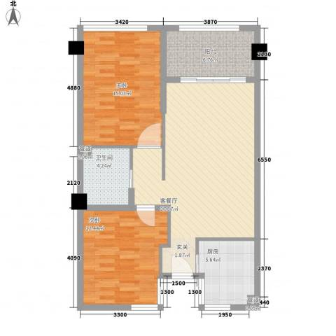 凯悦广场2室1厅1卫1厨81.60㎡户型图