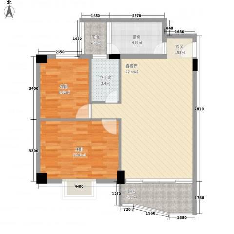 庆峰花园二期2室1厅1卫1厨91.00㎡户型图