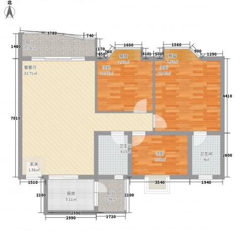 庆峰花园二期3室1厅2卫1厨128.00㎡户型图