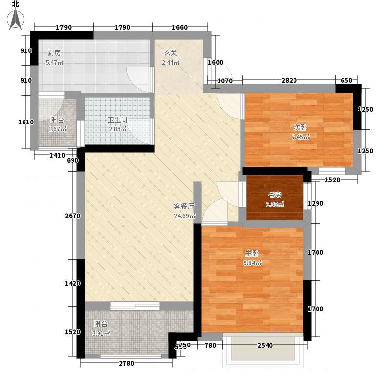 信达滨江蓝庭62.00㎡一期1号楼标准层B户型2室2厅1卫1厨