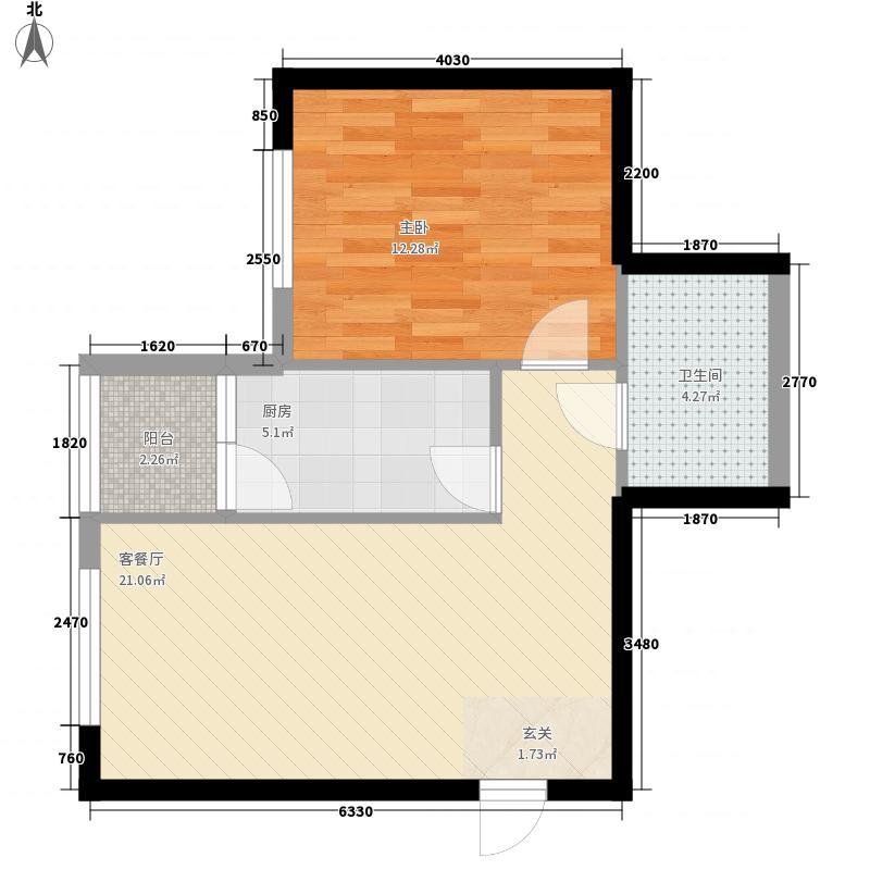 海荣名城61.63㎡HR6户型1室1厅1卫1厨