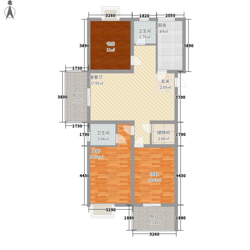 荣康公寓45户型3室2厅1卫1厨
