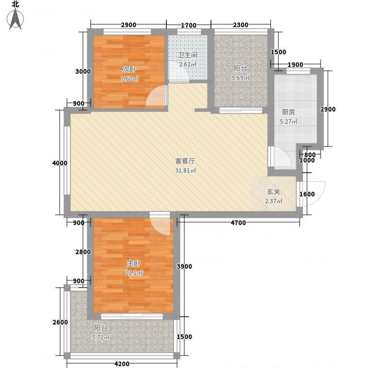静港清岛湾85.00㎡一期小高层F1户型2室2厅1卫1厨