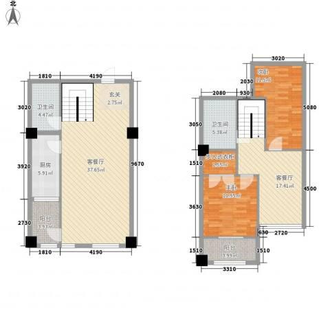 恒东幸福里2室2厅2卫1厨103.73㎡户型图