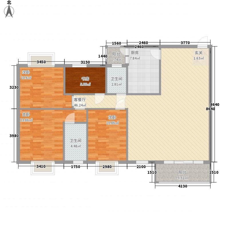 民园151.00㎡小区户型4室2厅2卫