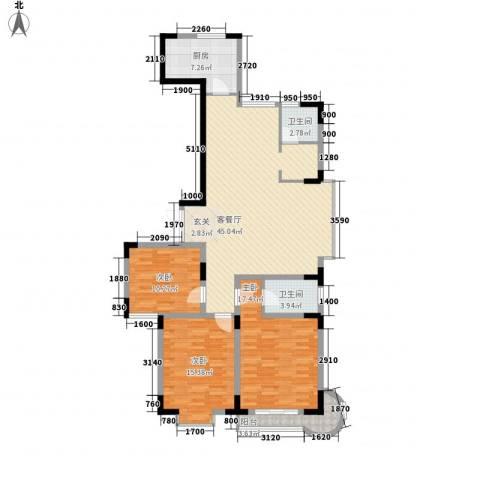 名人御苑3室1厅2卫1厨147.00㎡户型图