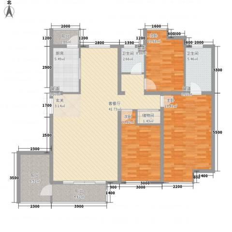 金地国际花园三期3室1厅2卫1厨146.00㎡户型图