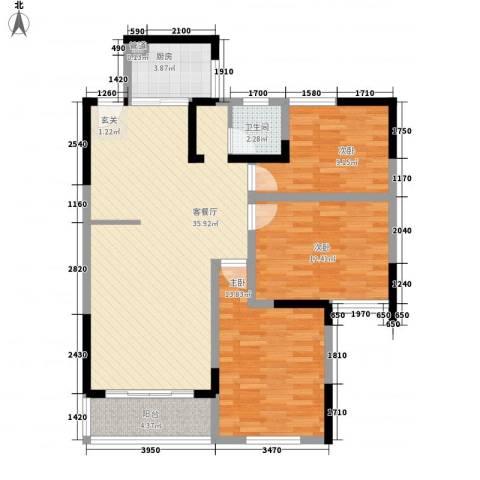 利生华园3室1厅1卫1厨118.00㎡户型图