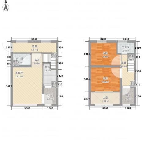亿科公元20102室1厅2卫1厨67.36㎡户型图