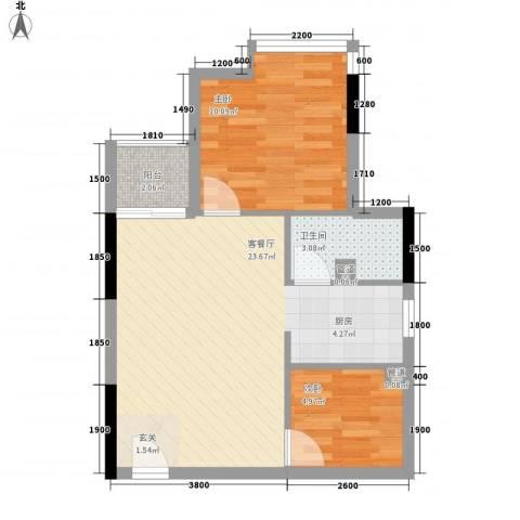 金莎雅苑2室1厅1卫0厨50.00㎡户型图