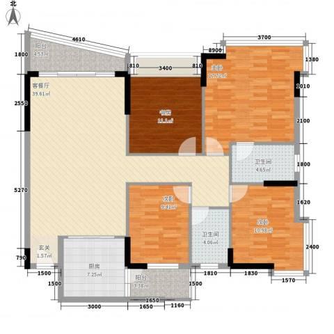 蔚蓝星湖二期4室1厅2卫1厨142.00㎡户型图