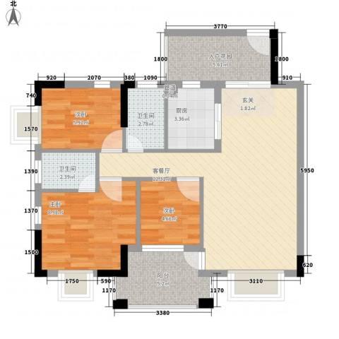 南沙滨海水晶湾3室1厅2卫1厨89.00㎡户型图