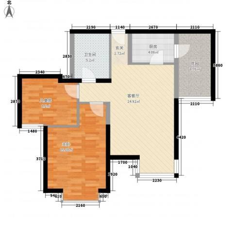 利生华园2室1厅1卫1厨82.00㎡户型图