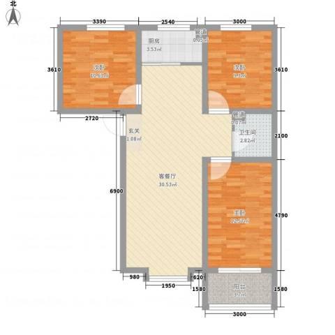 东上金地3室1厅1卫1厨105.00㎡户型图