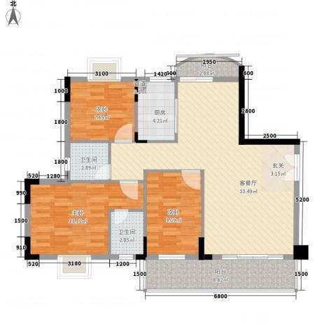 文博民丰东苑3室1厅2卫1厨137.00㎡户型图