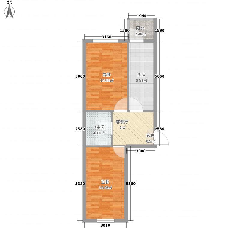 农垦新城49.06㎡农垦新城户型图I户型2室1厅1卫1厨户型2室1厅1卫1厨