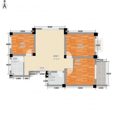 东华都市阳光3室1厅1卫1厨104.00㎡户型图