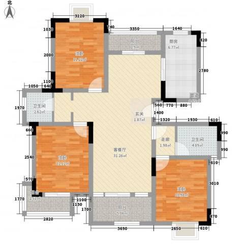 桃园山庄3室1厅2卫1厨134.00㎡户型图