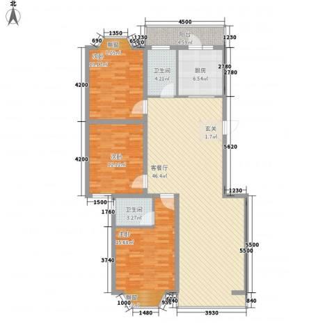 盛世华庭B63室1厅2卫1厨145.00㎡户型图
