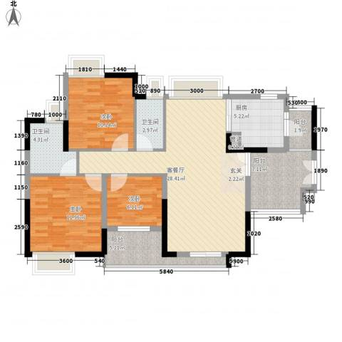 颐澳湾花园3室1厅2卫1厨121.00㎡户型图