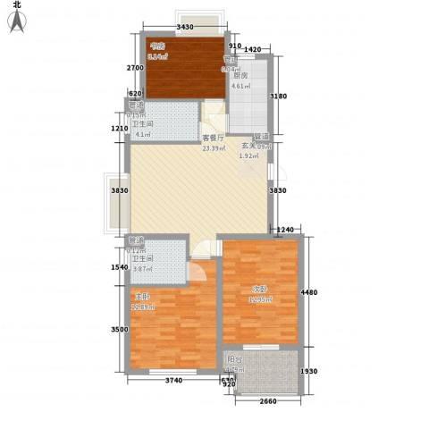 新浦江城3室1厅2卫1厨75.13㎡户型图
