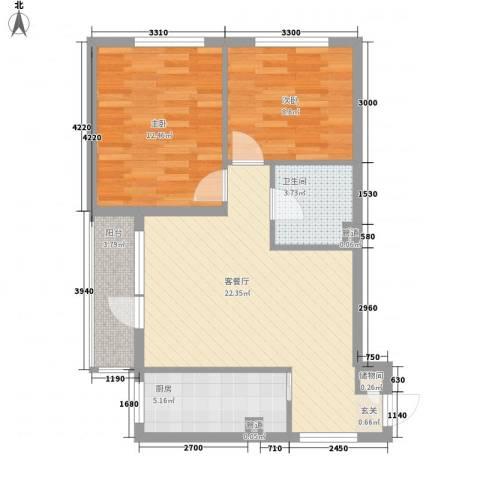 和泰逸青园2室1厅1卫1厨80.00㎡户型图