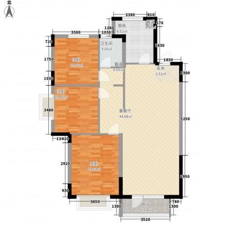 华润中心凯旋门3室1厅1卫1厨127.00㎡户型图