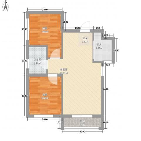 亿锋广场2室1厅1卫1厨66.00㎡户型图