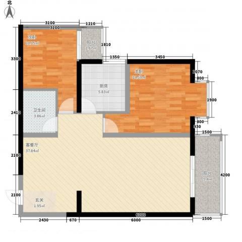 嘉祥世家2室1厅1卫1厨105.00㎡户型图