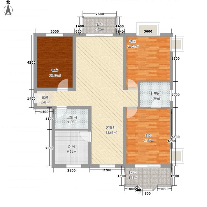 名士阁户型图3室2厅2卫1厨