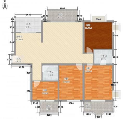 名士阁4室1厅2卫1厨167.00㎡户型图