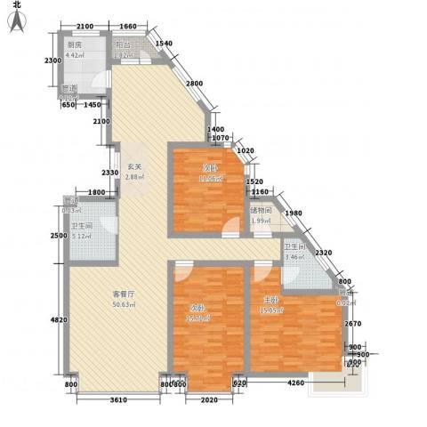岸上公馆3室1厅2卫1厨156.00㎡户型图