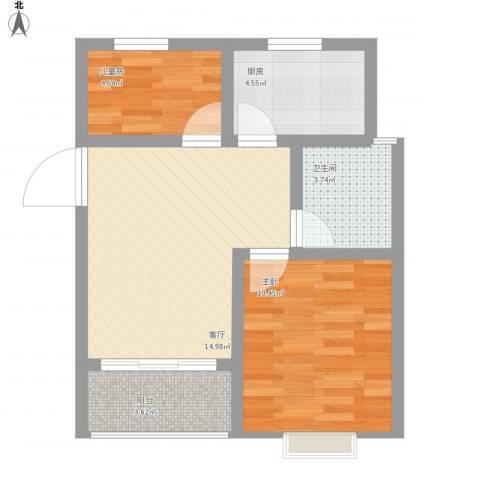 浒墅人家2室1厅1卫1厨62.00㎡户型图