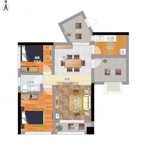 龙华花半里2室1厅1卫1厨89.00㎡户型图