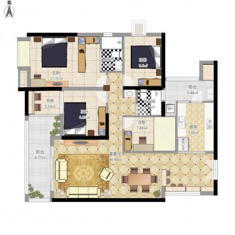 光明新区光明楼村花园4室1厅2卫1厨158.00㎡户型图
