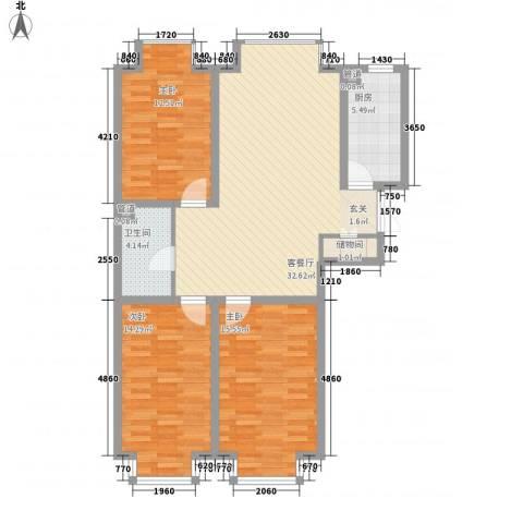 岸上公馆3室1厅1卫1厨122.00㎡户型图