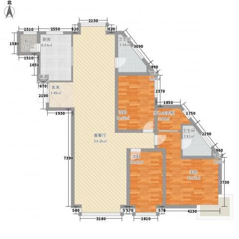 岸上公馆3室1厅2卫1厨163.00㎡户型图