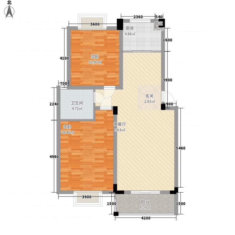 金彩公寓4.41㎡二居户型2室2厅1卫