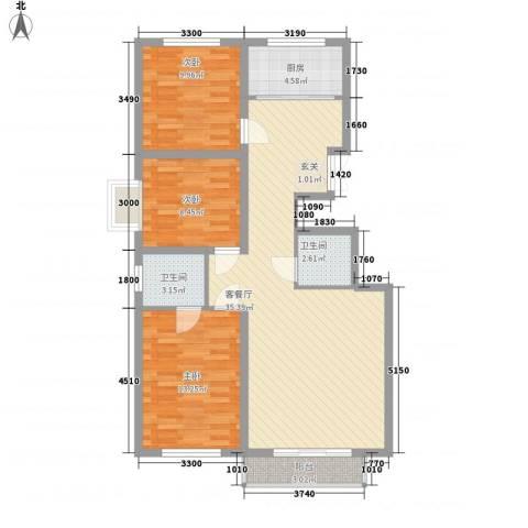 奈伦公寓3室1厅2卫1厨115.00㎡户型图