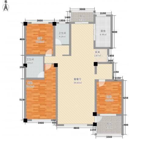 昌盛经典二期御花苑3室1厅2卫1厨160.00㎡户型图