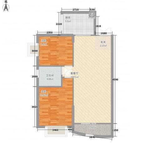 海藤名苑昊苑2室1厅1卫1厨94.00㎡户型图
