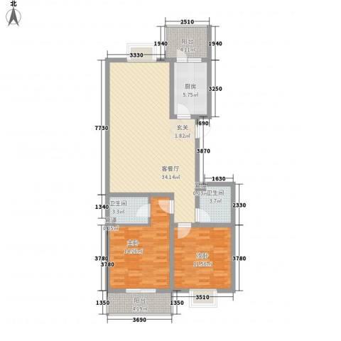 北方三角洲2室1厅2卫1厨92.80㎡户型图