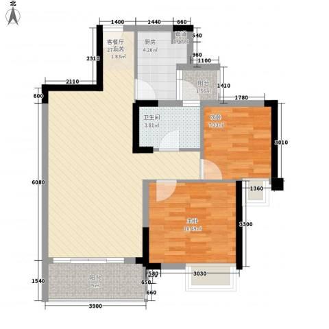 福湾新城秋月苑2室1厅1卫1厨84.00㎡户型图